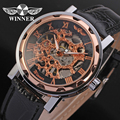winner watch mechanical watch for men black leather band free shipping WRG8008M3T2
