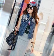 Fashion Girls Retro Sequin Paillette Jean Denim Personalized Waistcoat Coat Vest Jackets(China (Mainland))