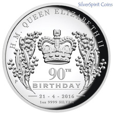 2016 QUEEN ELIZABETH 90th BIRTHDAY 1oz HIGH RELIEF SILVER PLATED REPLICA SOUVENIR COIN,5pcs/lot 32.6mm(China (Mainland))