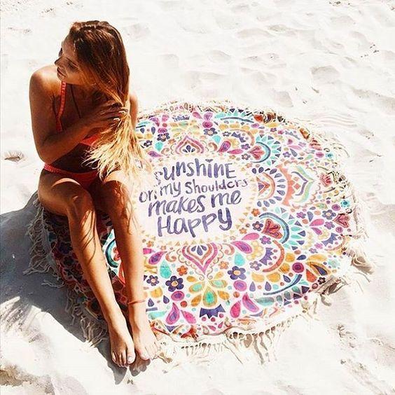 2017 New Beach Cover Up Round Tassel Cotton Pareo Beach Coverup Beach Mat Shawl Yoga Mat Letter Sarong Cloak Bathing Suit