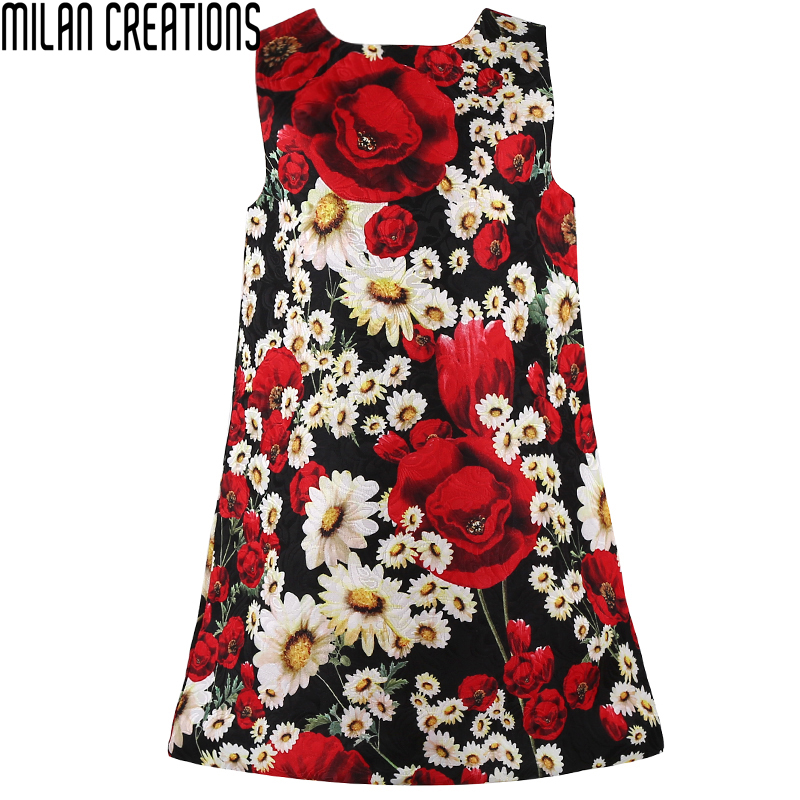 Clothes 2016 brand girls dress winter costume christmas floral pattern