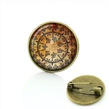 TAFREE Drago bulbo oculare spilla pin art immagine di vetro cabochon cupola gelo dragon eye distintivo delle donne yoga mandala spille gioielli T778(China)