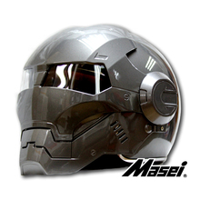 2015 Mens Womens MASEI IronMan Motorcycle Helmet Full Face Flip up with Sun Shield Half Open Face Casque Motocross Free Shipping(China (Mainland))