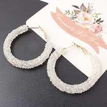 Qtian Fashion Brand New Design Charm Round Shiny Rhinestone Big Hoop Earrings for Women Simple Geometric Austrian Crystal(China)