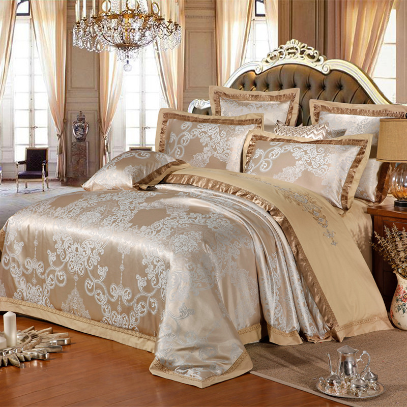 Chinese wedding style jacquard bedding 100 cotton bedding for Luxury cotton comforter sets