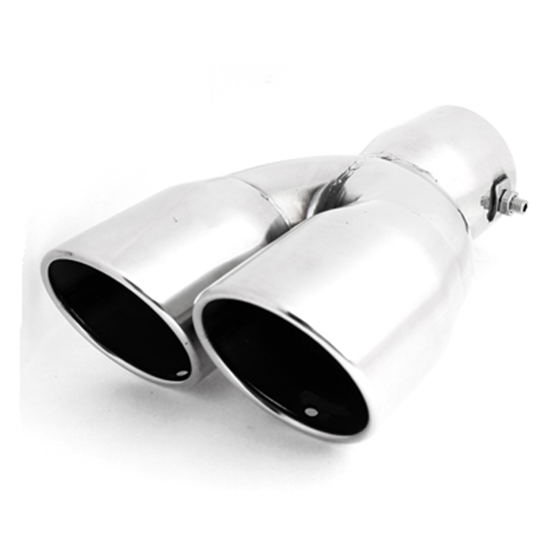 2.4 inch Inlet Universal silver double tail pipe rear Exhaust Tip Pipe Stainless Steel Tail models car styling - Hongkong Get Top Auto Accessories Co., Ltd. store