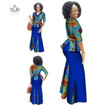 Традиционная африканская одежда, комплект из 2 предметов, женская одежда, платье макси с коротким рукавом, Дашики, юбка с Африканским принто...(China)