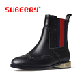 SUBERRY Brand Desgin Women Boots Black Soft Leather Boots Metal Buckle Strap Rivet Women Ankle Boots Stacked Heel Shoes Woman 43