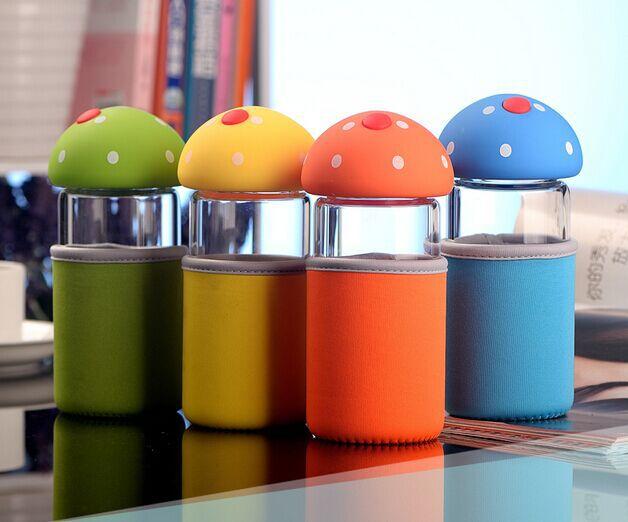 Mushroon Plastic Lid Food Safe Water Bottle Kids Cartoon Glass Drinkware Screw Cups 320ml(China (Mainland))