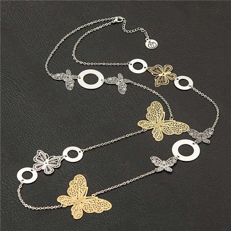 2016 Chokers Women Necklaces Butterfly Hollow Jewelry Retro Long necklace Vintage Body Boho Kolye Bijoux femme Collares mujer(China (Mainland))