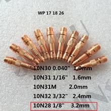 Buy 10PCS 10N28 3.2mm collet body welding consumable for wp 17 18 26 tig welding torch for $7.31 in AliExpress store