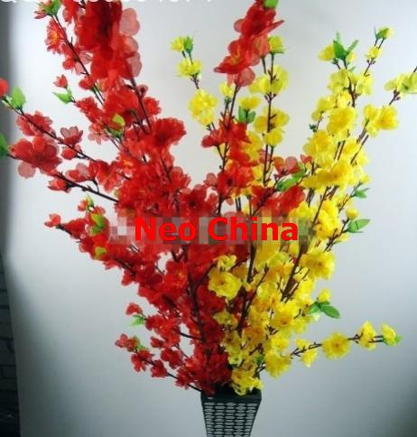 Wholesale cheap peach/plum blossom,sakura flower,high 125cm,artificial wedding/home silk flowers,free shipping(China (Mainland))