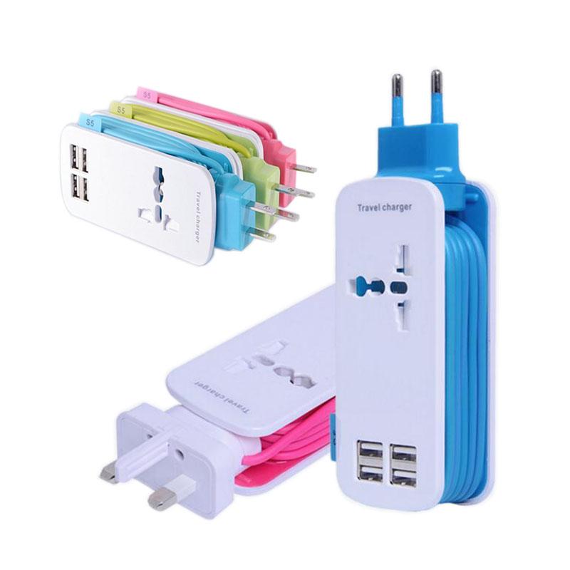 Universal 4 USB Port Display Screen US EU UK Plug Travel AC Power Adapter Socket Smart Wall Charger For Cell Phone Tablet Camera(China (Mainland))