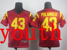 New Arrival Nike Youth Nike USC Trojans Troy Polamalu 43 Red College T-shirt Jersey(China (Mainland))