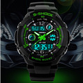 Free ship s shock mens military watch sport watch 2times zone backlight quartz Chronograph jelly silicone