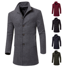 JJ Warm Sportsman New Fashion large Turn Down Collar Winter Male Coat Long Slim Fashion Styish Woolen Male Men Trench 3 Colors W(China (Mainland))