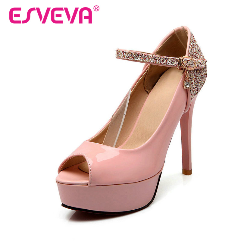 ESVEVA Pu Patent Leather Buckle Strap Peep Toe Women Pump Super Thin High Heels Autumn/Spring Lady Party Shoes Size 34-43 White(China (Mainland))