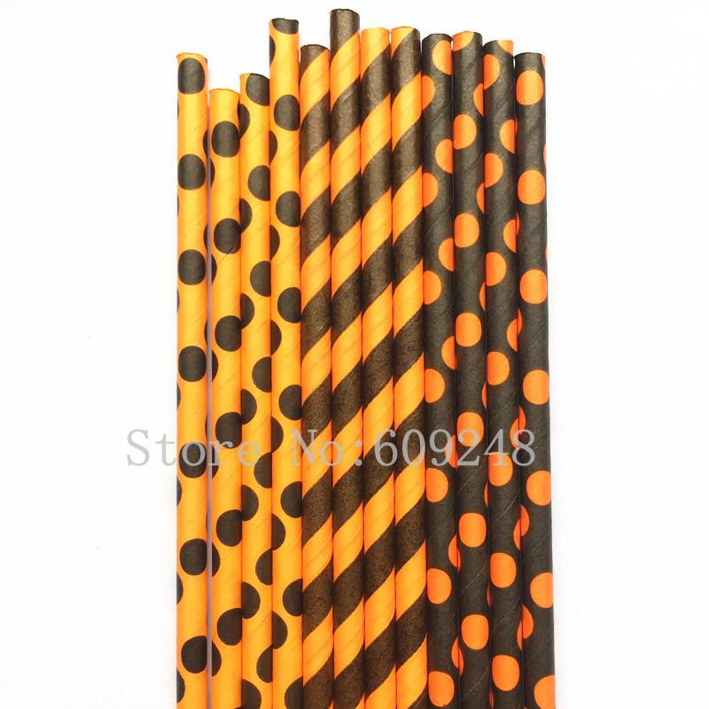 Free DHL 1000pcs Pick 300 Designs Paper Straws,Black and Orange Polka Dot Striped Paper Drinking Straws Bulk,Halloween Party(China (Mainland))