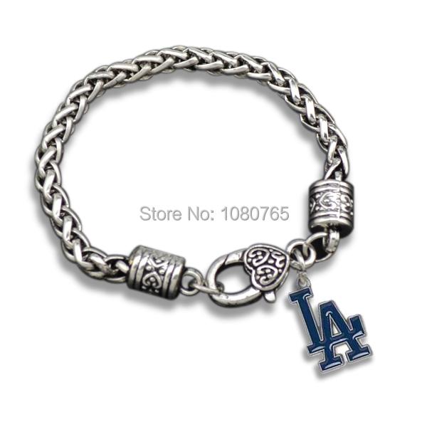 10 Pcs/Lot Antique Silver Blue Enamal Los angeles dodgers Team Logo Charm Wide Bracelets(China (Mainland))