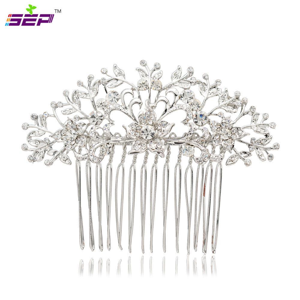 2016 New Hair Combs Romantic Plant Flower Women Rhinestone Crystals Comb Bridal Wedding Jewelry Accesssories 2257r - SEP store