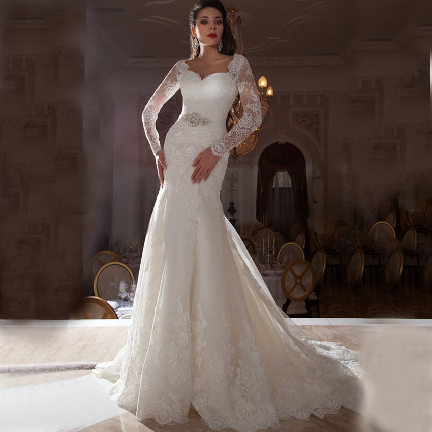 fw1353 illusion long sleeves lace mermaid wedding dresses