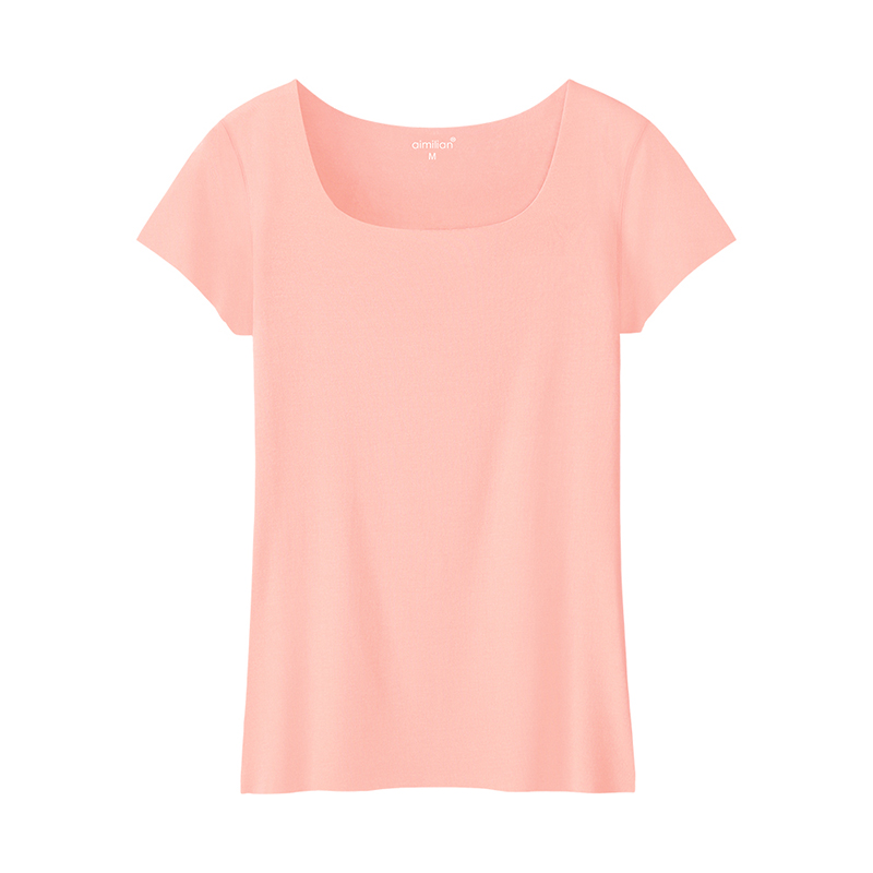 2016 U collar short sleeved T-shirt slim dress coat color simple summer wear Korean fan seamless tight shirt(China (Mainland))