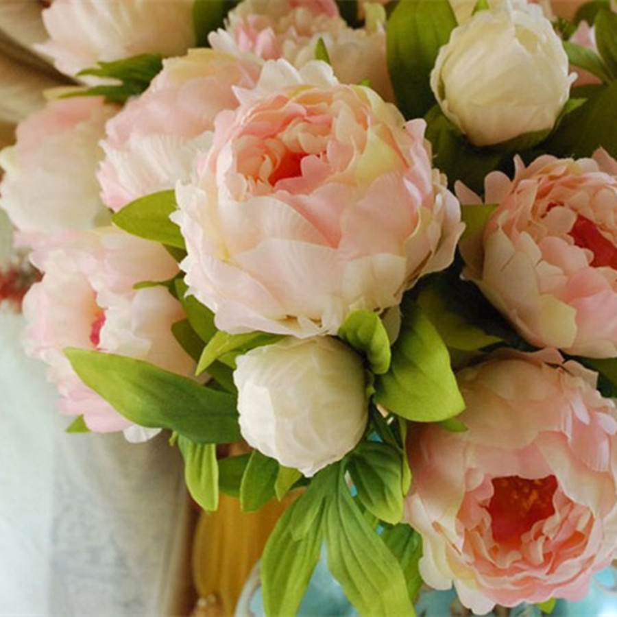( 7 peony flower heads) 2016 new 1 Bouquet Artificial Peony Silk Flowers with high quality(China (Mainland))