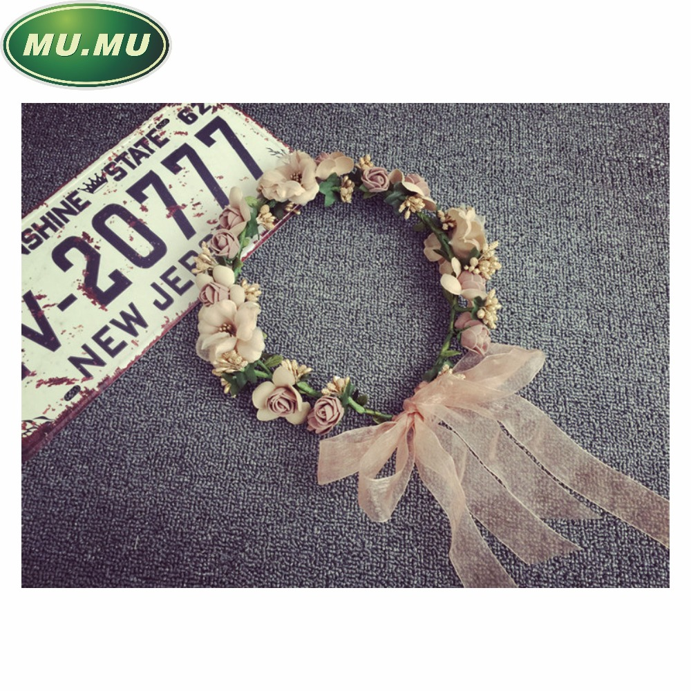 Fashion bridal wreath headdress hair accessories hair bands flower seaside bridesmaids married accessories hand-knit decoration(China (Mainland))