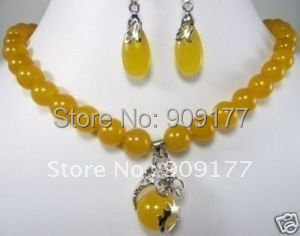 free shipping* Yellow jade jewelry pendant necklace Earrings