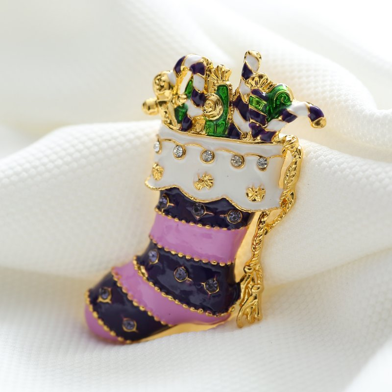 Christmas socks gold plated brooches pins crystal vintage brooches