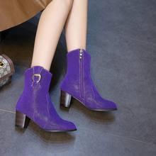 EGONERY Thương hiệu giày tây mùa đông 2019 Tím nâu đen ngoài trời 6cm Giày cao gót giày nữ thả vận chuyển Plus size 34-45(China)