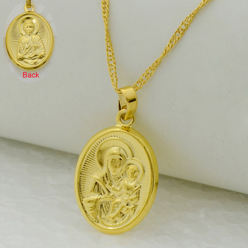 virgin mary jesus image pendant necklace 22k gold plated