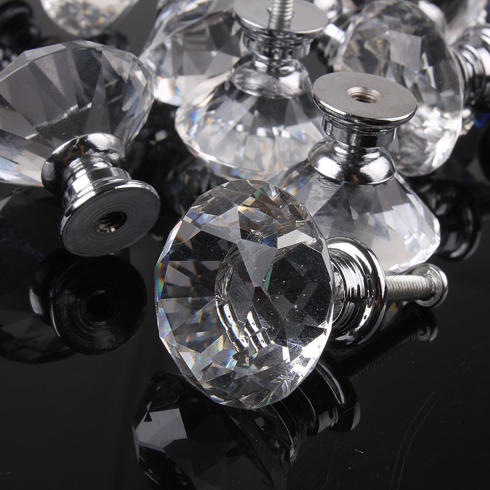 1pcs 30mm Diamond Crystal Glass Alloy Door Drawer Cabinet Wardrobe Pull Handle Knobs Vintage Door Knobs Drop Shipping Wholesale(China (Mainland))