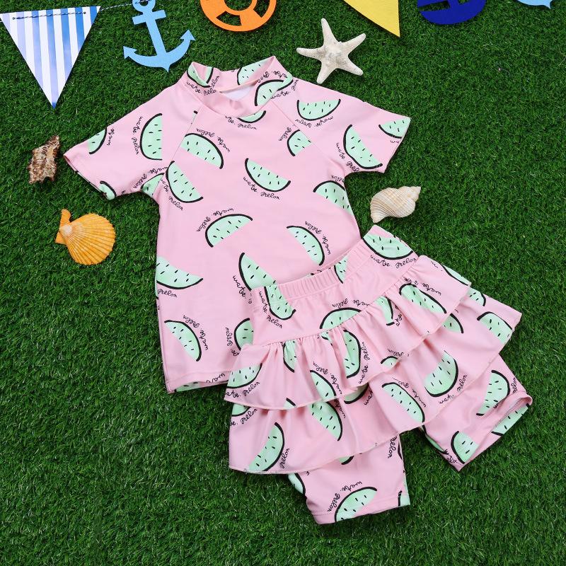8-14Y fashion summer Girls kids swimsuit watermelon Little children Star Bow Dress style swimsuits models Two Pieces swimwear<br><br>Aliexpress