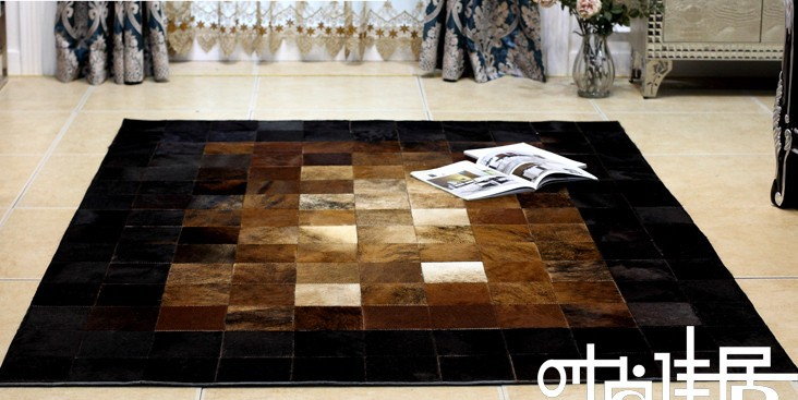 1 piece via DHL 100% natural cow leather carpet