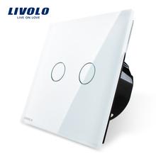 Livolo White Crystal Glass Switch Panel, EU Standard, Wall Switch VL-C702-11, AC 220~250V Wall Light Touch Screen Switch(China (Mainland))