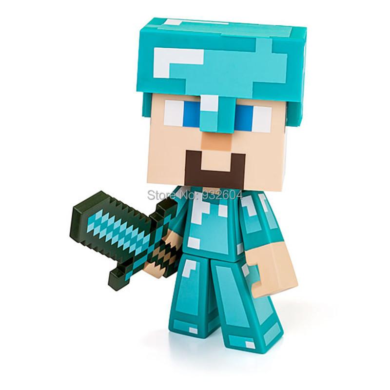 Minecraft 6 Inch Steve Action Figure Vinyl Diamond Sword Mojang Dimond Edition Toy - Max store