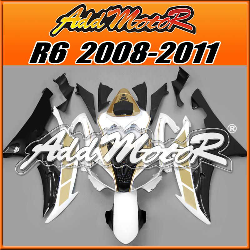 Addmotor Aftermarket Injection Mold Fairing Fit Yamaha YZF R6 08-11 YZFR6 2008-2011 YZF-R6 Body Kit Gold White Y6836(China (Mainland))