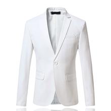 New Arrival Spring White Formal Dress Blazers Men Solid Slim Fit V-neck Mens Blazer Jacket Casual Social Business Suit Jacket(China (Mainland))