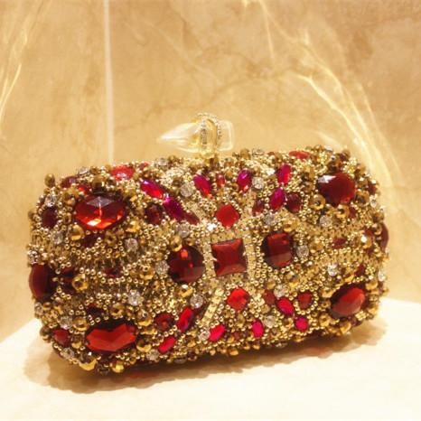 New Arrival Designers Brand Luxury Red Gemstone Clutch Evening Bag Bridal Wedding Party Prom Bags Crystal Rhinestone Handbags(China (Mainland))