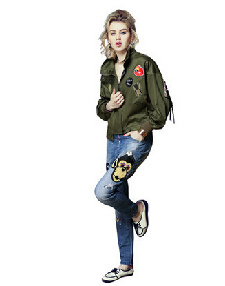 Fashion Army Green Women Bomber Jackets 2016 Female Coat Flight Suit Casual Print Jacket Embroidered Patches Women Jacket Coats(China (Mainland))