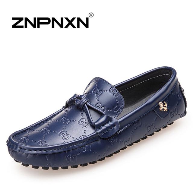 Ручной работы из натуральной кожи мужской обуви свободного покроя обувь для вождения, ...