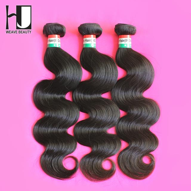HJ Weave Beauty Indian Virgin Hair Body Wave Human Hair Weaves 3PCS Lot Free Shipping