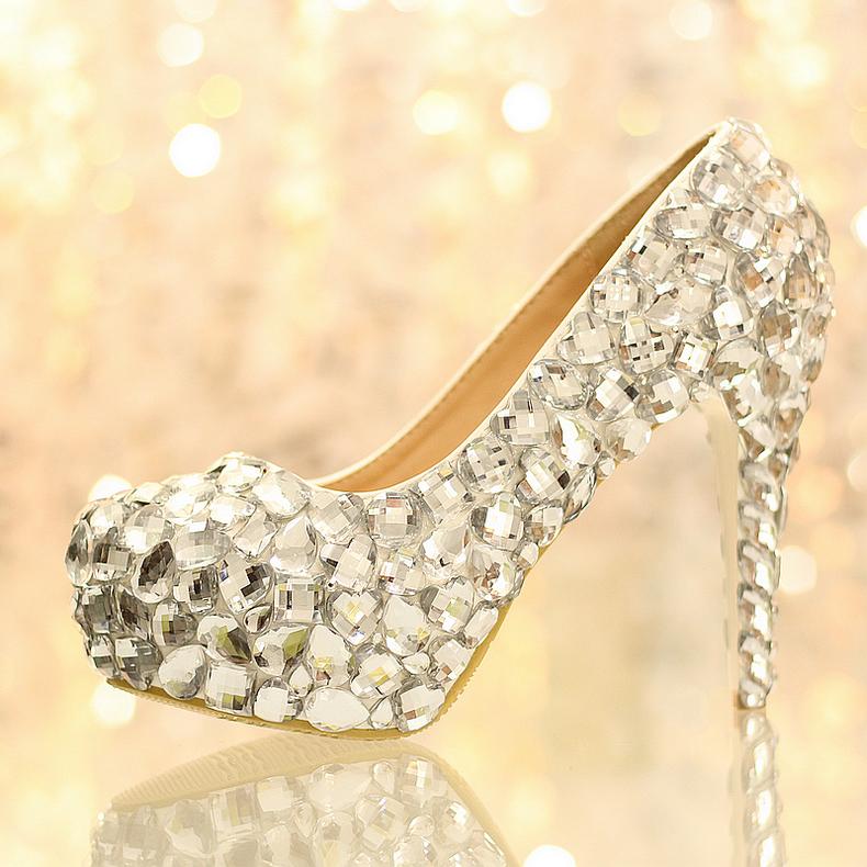 Thickening platform high-heeled wedding shoes heavy rhinestone white princess crystal bridal anti-slip pumps (heel 12cm) - SOLARFA CO., LIMITED store