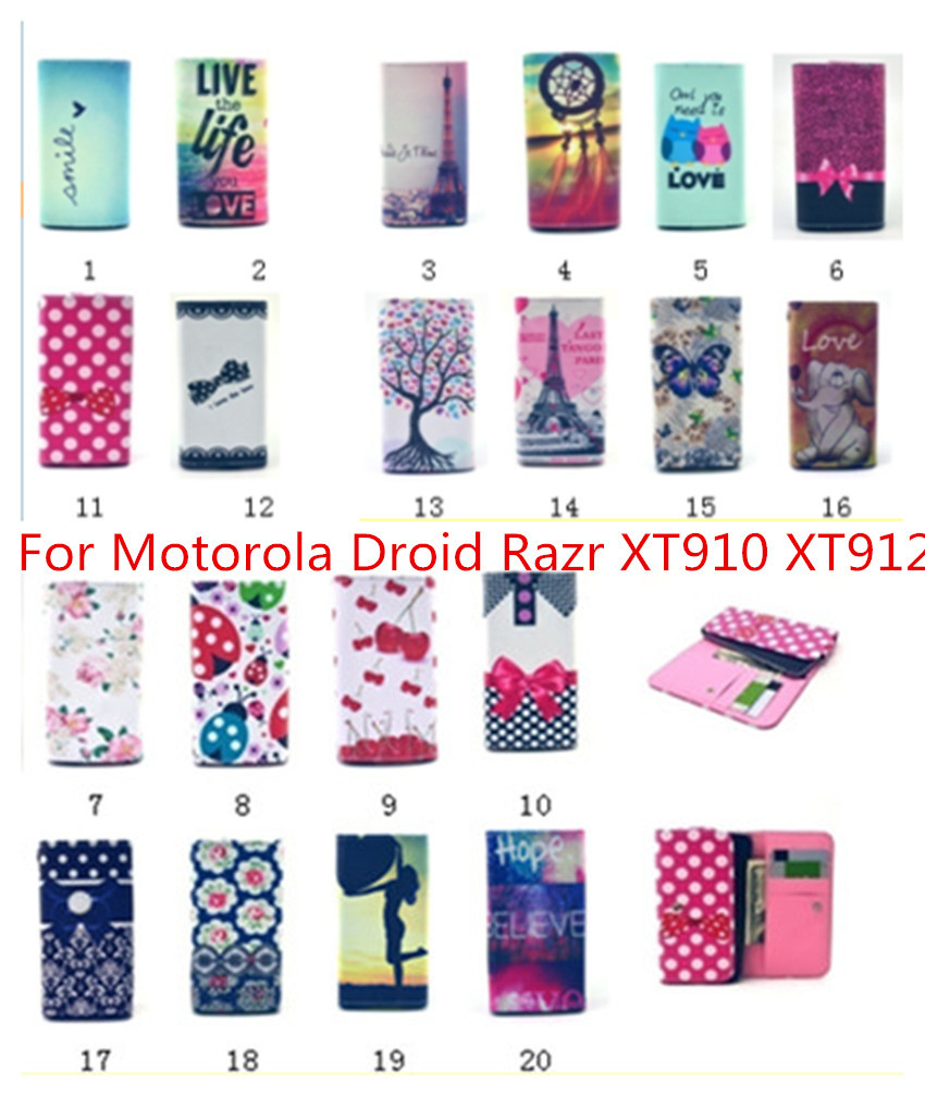 For Motorola Droid Razr XT910 XT912 New Luxury Flip pouch Leather cute wallet Mobile Phone case 20 colors phone Bags(China (Mainland))