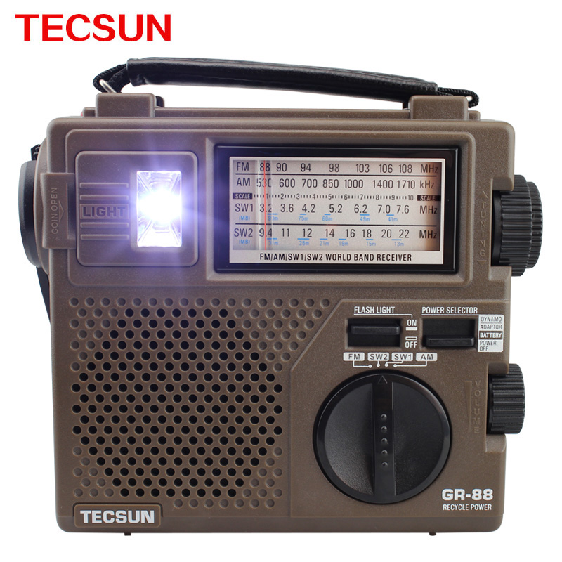 TECSUN GR-88 High Sensitivity Portable Radio Full World Band / Economic / Environmental / Dynamo Radio FM/SW/LW/MW Radio Stereo(China (Mainland))