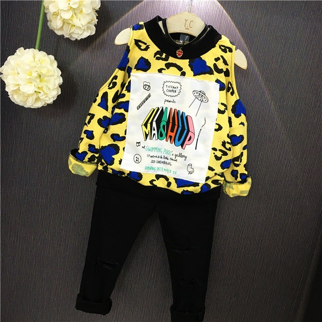 girls autumn tops full sleeve hollow out yelow printed causal shirt Cartoon Funny Geometric leakage shoulder O-Neck pullover