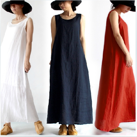 Clearup Stock - Low price!!!! 2014 New Arrivals Women's Long Dresses Linen Dresses Ladies' One-piece Dresses 16359(China (Mainland))