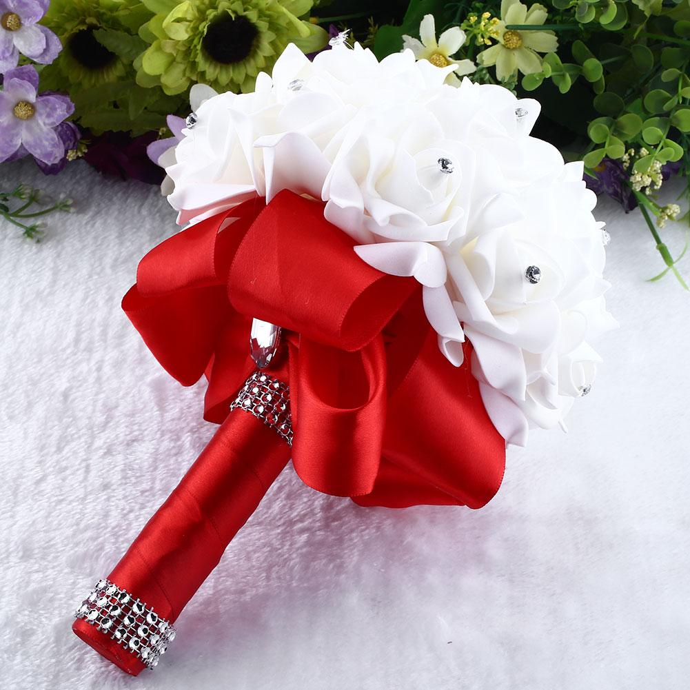 brooch bride rhinestone wedding bouquet fake artificial