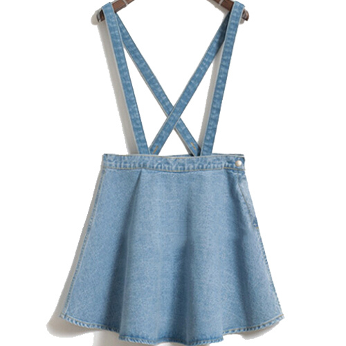 2015 new Korean jean denim skirt thin umbrella big swing denim strap waist single buckle detachable suspenders skirts(China (Mainland))
